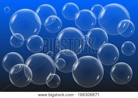 Vector transparent soap bubbles set. Bubbles on dark blue gradient background