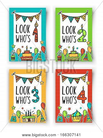 Birthday Kids vector card with colorful numeral candle, balloons, cake, hat, cocktail to design holiday cards and invitation for a birthday. Quote Look Who s one, two, three, four year