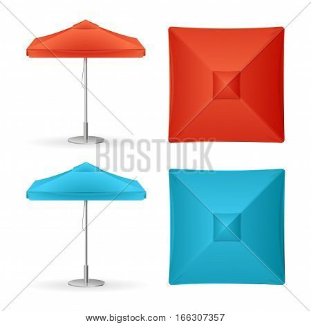 Parasol Promo Summer Cafe Red and Blue Set for Summertime. Top View or Side Vector illustration