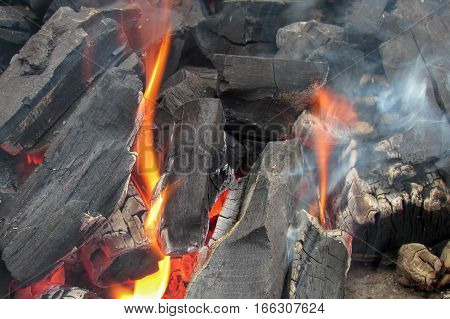 The coals in the brazier. Burning coals for a shish kebab