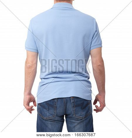 Man wearing blank blue t-shirt isolated on white background with copy space. Tshirt design and people concept - close up of men in blank shirt. For mock up template design. Back view