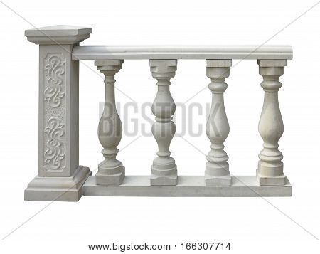 Classic Stone Balustrade With Column Isolated Over White