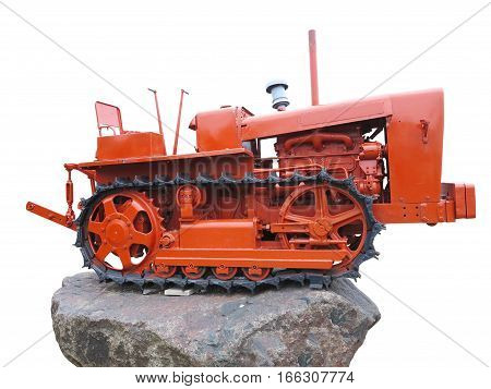 Abstract Red Old Tractor Isolated Over White