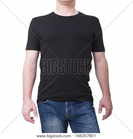 Man wearing blank blue t-shirt isolated on white background with copy space. Tshirt design and people concept - close up of men in blank shirt. For mock up template design. Front view