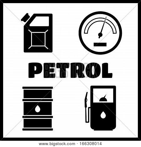 Gas station vector icons set. Petrol icon, car and oil icon