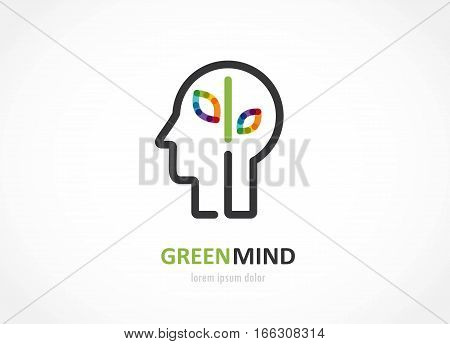 green mind- abstract colorful icon of leaves in human head, mind, brain symbol. vector illustration