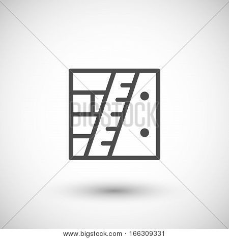 Wall insulation line icon isolated on grey. Vector illustration