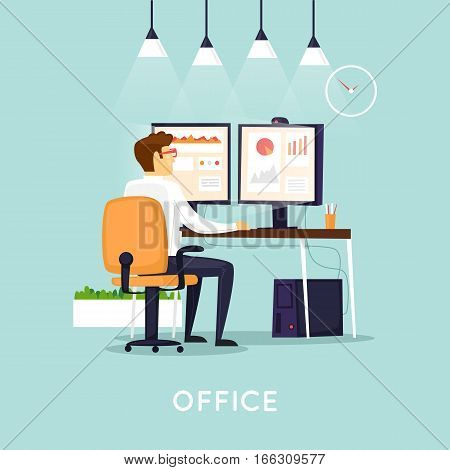 Designer, financial accountant, web developer, businessman working at a computer in the office. Office life. Isolated background. Character. Flat design vector illustration.