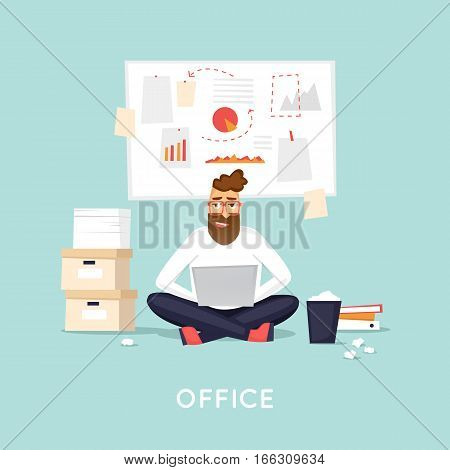 Young man working in the office. A lot of work. Idea moment.  Workplace. Office life. Isolated background. Flat design vector illustration.