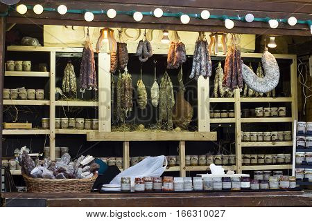 Wooden kiosk for sale sausage meat and sauces