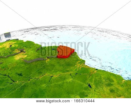 French Guiana On Earth In Red
