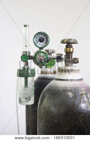 Oxygen cylinder and regulator gauge Hospital equipment