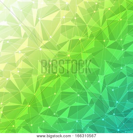 Green abstract geometric background with polygon mesh grid pattern