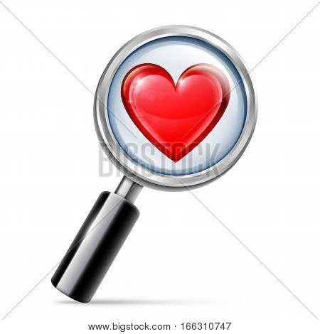 Magnifying glass focused on big red heart. Searching for love concept