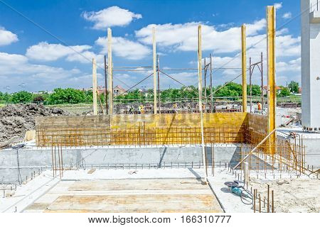 View on building site assembly a huge mold with reinforcement mesh for concreting