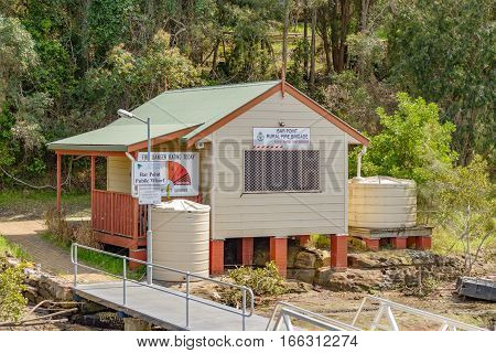 BROOKLYN AUSTRALIA - OCTOBER 14 2016: Bar Point Public Wharf is a stopping point on the Hawkesbury River mail boat service.