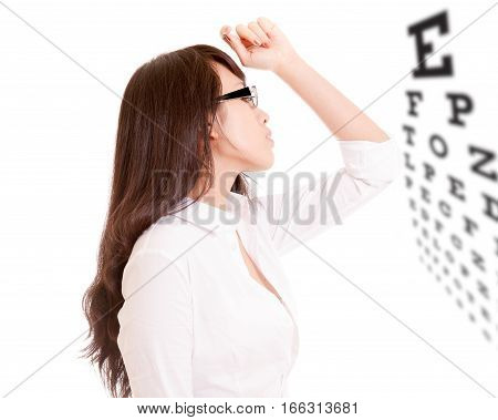 Side Profile Of Chinese Office Lady And Eyechart