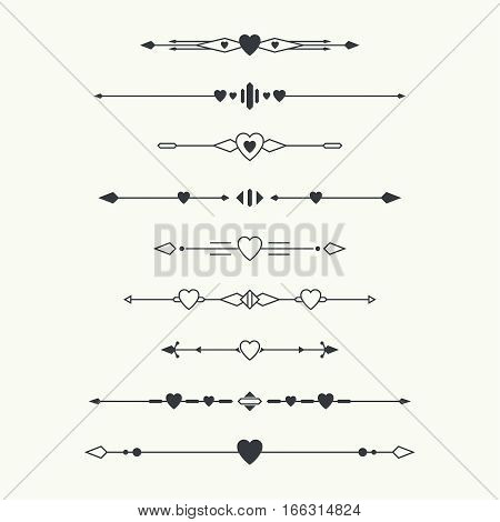 Dividers vector set isolated. Geometric horizontal vintage line heart border and text design element. Collection of decorative page rules. Separation select text. Minimalism