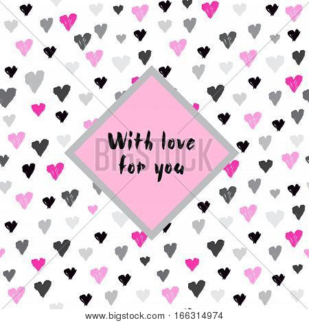 Light seamless pattern with pink hearts confetti on white background and lable with text place. Romantic trendy Valentine day design