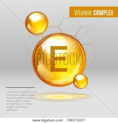 Vitamin E Gold Shining Pill Capcule Icon . Vitamin Complex With Chemical Formula, Tocopherols, Tocot