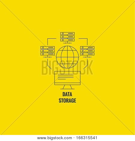 Abstract background with a network server. Storage of digital information. The database is on a remote computer. Global data transfer.
