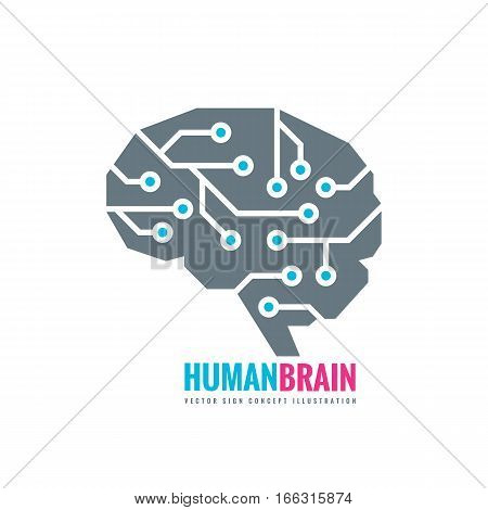 Digital human brain - vector logo concept illustration. Mind sign. Future electronic structure technology creative symbol. Thinking education.