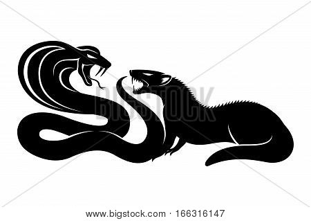 Mongoose and cobra on a white background.