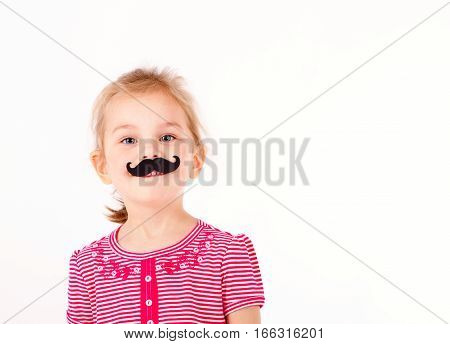 cute little girl with a nice mustache isolated on white