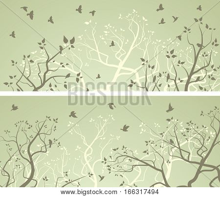 Set of horizontal wide banners of stylized forest with tree branches and flock of birds.