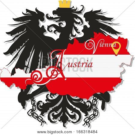 Austria and silhouette of the single-headed eagle. Vector image. The design, character, symbol, illustration for book, brochures, leaflets, use on websites, Souvenirs and map.
