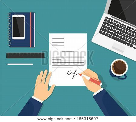 Sign the contract in the office. Flat illustration of business man signing document and putting his signature on the paper. Professional manager sitting at work desk with laptop and drinking coffee