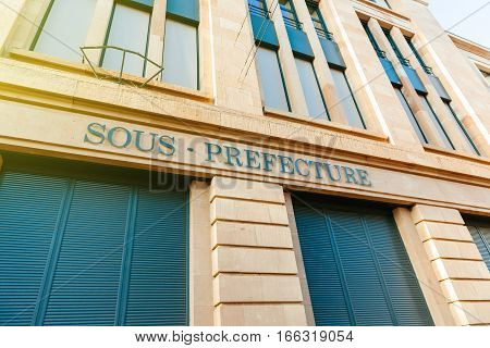 Old Sous-Prefecture signage on building in central Mulhouse Alsace France