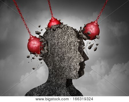 Painful Headache pain and pounding migraine concept as a human head made of cement being destroyed or renovated by a group of wrecking ball objects as a symbol for personal change as a 3D illustration.