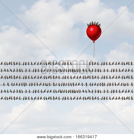 Group venture and new startup organization concept as many birds perched on wires with a risk taking team riding a balloon upward as a new business enterprise launch with 3D illustration elements.