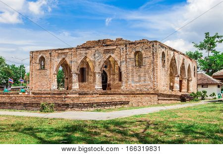 Historical monuments mosque and ancient remains in name Kru Se masjid which is made of bricks with round pillars Pattani Southern Thailand