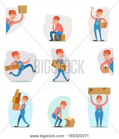 Deliveryman Cargo Freight Box Loading Delivery Shipment Loader Character Icon Cartoon Template Vector Illustration