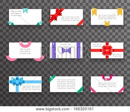 Envelope greeting cards with bows for mobile web apps gift bows ribbons icons set flat design vector illustration