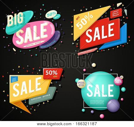 Sale advertising banner layout special big and offer concept sticker set vector illustration