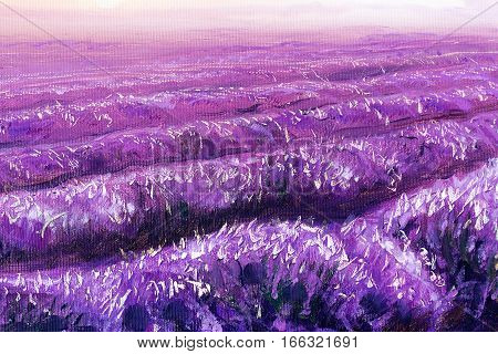 beautiful lavender fields, painting detail, oil on canvas