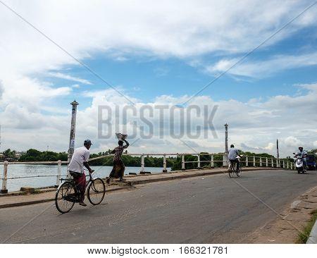 People Biking On Street In Colombo, Sri Lanka