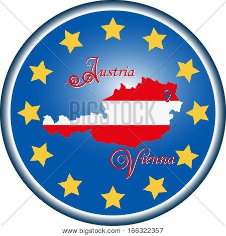 Map of Austria and the flag of the European Union. Vector image. The design, character, symbol, illustration for book, brochures, leaflets, use on websites, Souvenirs and a map.