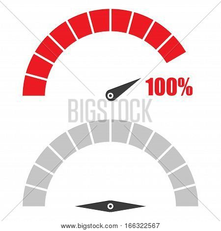Set of speedometer or rating meter signs infographic gauge element with percent 100
