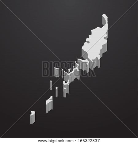 Palau map in gray on a black background 3d