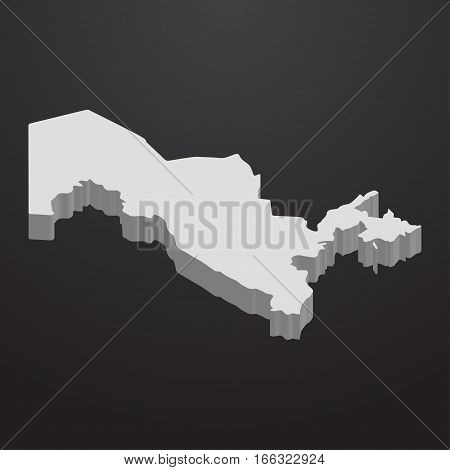 Uzbekistan map in gray on a black background 3d