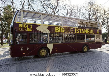 ISTANBUL, TURKEY - DECEMBER 3, 2016: Big Bus in Istanbul. Big Bus Tours is the largest operator of open-top bus sightseeing tours in the world, providing sightseeing tours in 18 cities.