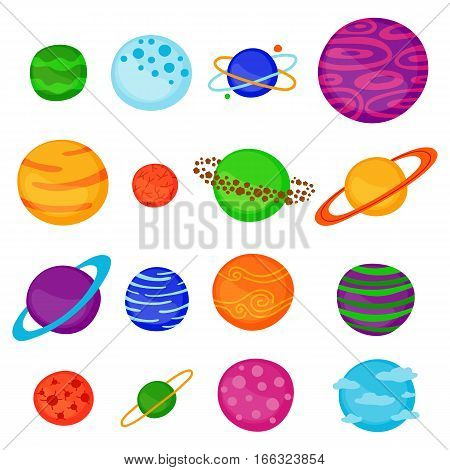 Collection of different cartoon fantastic space planets isolated on white background.