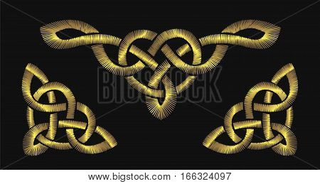 Gold embroidery on a black background. Celtic patterns. Irish ornament vector illustration