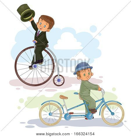 A set of vector illustrations of small children ride retro bikes