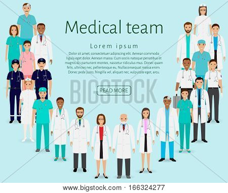 Medical team. Group doctors nurses paramedics standing together. Medicine web banner. Hospital staff. Flat style vector illustration.