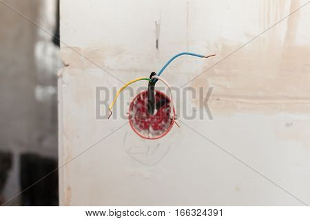 Wall power socket, plastic electrical junction box with electric wires